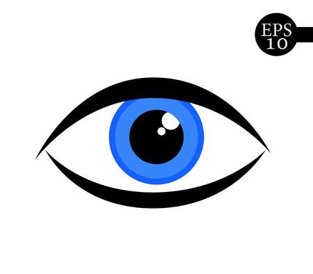 Beautiful blue woman eye. Simple eye icon - vector illustration. Vettoriali