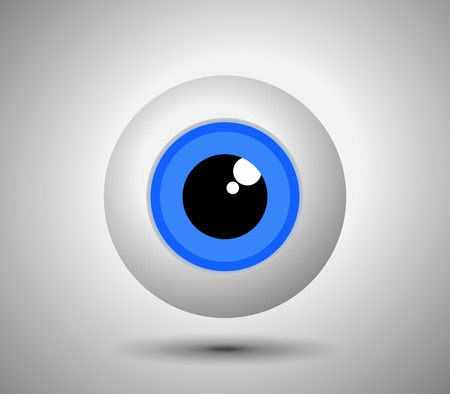 human eye: Beautiful blue eyeball on light background. Simple human eye icon - vector illustration. Illustration