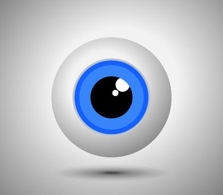 ojo humano: Hermoso globo del ojo azul sobre fondo claro. Humano simple icono del ojo - ilustración vectorial.