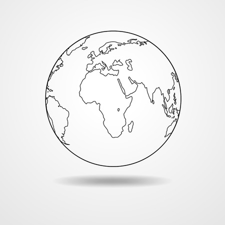 sketched shapes: Black simple scheme of the globe. Globe earth Icon Vector. Contour of globe on white background - vector illustration.