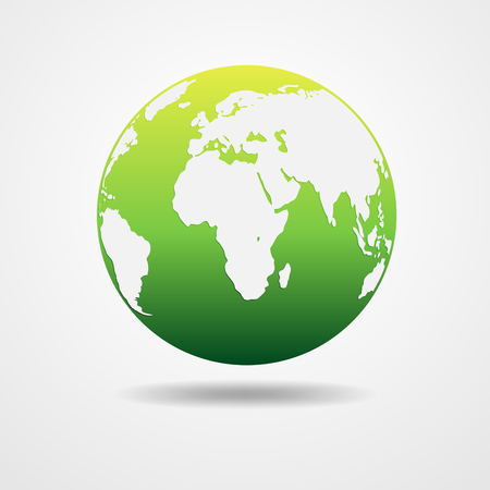 globe illustration: Green vector Earth globe isolated on white. Light - green simple scheme of the globe. Globe earth Icon - vector illustration. Illustration of an eco-friendly green earth design. Illustration