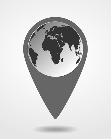 1 place: Pin on the map icon. Modern map marker - vector illustration. Black location icon with image of Earth map.