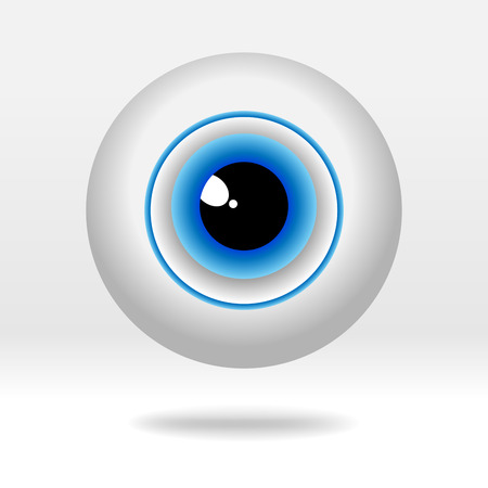 Beautiful blue eyeball on light background. Simple human eye icon - vector illustration. Illustration