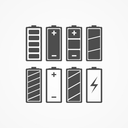 voltage gray: Battery charge icons - vector illustration. The battery icons with a various level of charge. Set of monochrome battery icons charge level Illustration