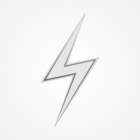 electrocute: White lightning icon. Sign of lightning - vector illustration. Illustration