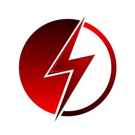 Red lightning icoon. Teken van de bliksem - vector illustratie.