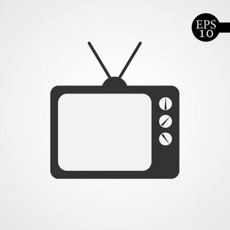 old fashioned tv: Black TV icon. Sign of TV - vector illustration. Flat icon of tv.