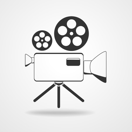 camcorder: Camcorder icon - vector illustration. Black icon of movie camera. Flat camcorder symbol. Illustration