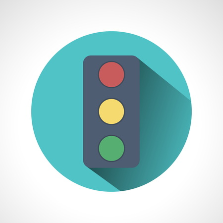Traffic lights flat icon with long shadow. Vector illustration of stop color lights icon, flat round icon. Road sign over white background - vector illustration. Illustration