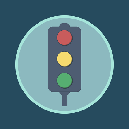 Traffic lights flat icon. Vector illustration of stop color lights icon, flat round icon. Abstract road sign - vector illustration.