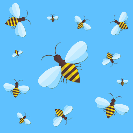 pollinate: Bee sign icon. Bee on blue background. Flying insect. Flat icon of bee - vector illustration. Background with flying bees of various sizes, can be used as a seamless. Illustration