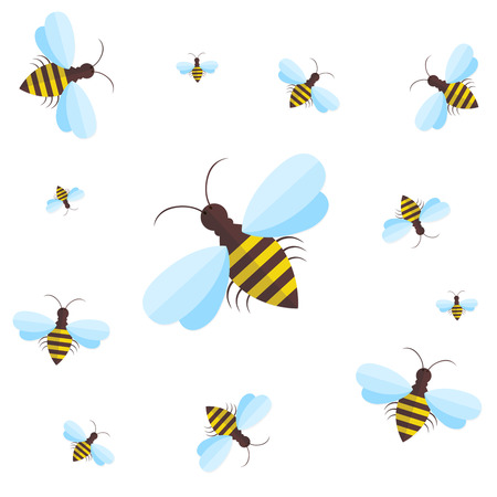 pollinate: Bee sign icon. Bee on white background. Flying insect. Flat icon of bee - vector illustration. Background with flying bees of various sizes, can be used as a seamless. Illustration