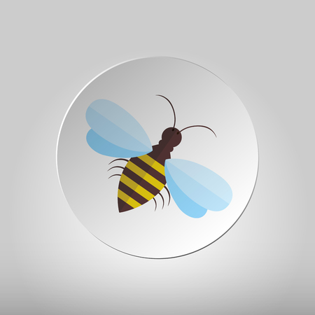 pollinate: Bee sign icon. Circle flat button with the image of bees. Flying insect. Flat icon of bee - vector illustration.
