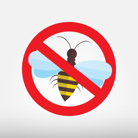 pollinating: Honey bee icons - vector illustration. Bumblebees symbols. Sticker with Warning sign bee icon. Prohibition red symbols.