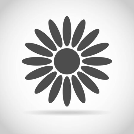 Abstract camomile on white background. Flower icon design. Flat daisy - vector illustration. Illustration