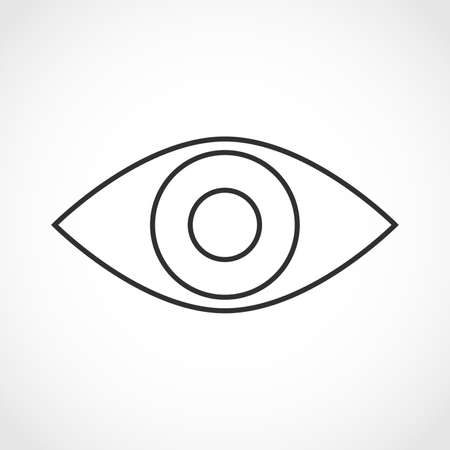 human eye: Simple contour of the eye on white background. Simple human eye icon - vector illustration.