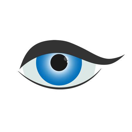 blue eye: Beautiful blue woman eye. Simple eye icon - vector illustration. Illustration