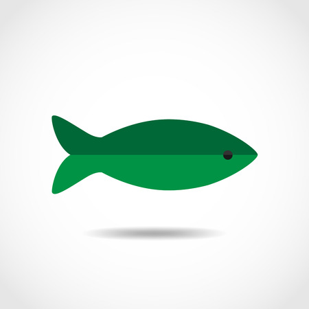 green fish: Abstract green fish - flat design. Fish icon - vector illustration.