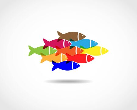 small flock: Colorful fishes swimming together - unity concept. A small flock of fish - flat design. Flat fish icon - vector illustration. Illustration