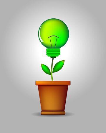 flowerpot: Green lightbulb plant coming out of flowerpot. Business growth concept with idea light bulb - vector illustration.