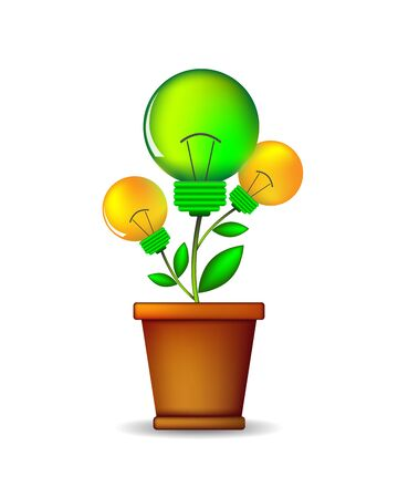 flowerpot: Glowing lightbulb plant coming out of flowerpot. Business growth concept with idea light bulb - vector illustration. Illustration