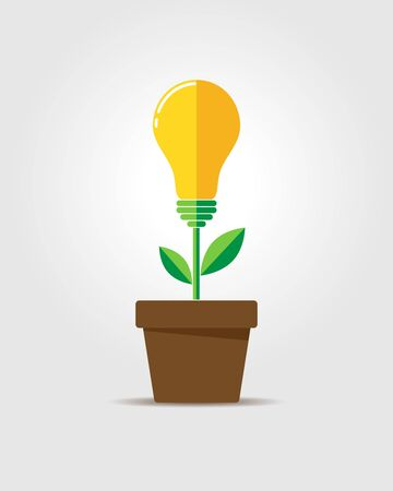 glowing light bulb: Glowing light bulb plant coming out of flower pot. Business growth concept with idea light bulb - vector illustration. Flat design icon.