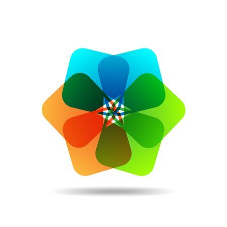 six objects: Abstract colorful squares - vector illustration. Six simple square, connected to each other and form a flower - vector graphic.