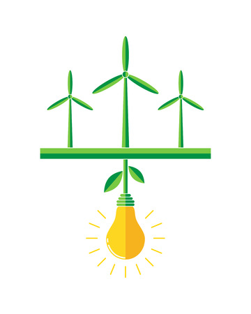 energy center: Wind turbines generators in the field - vector illustration. Green field with wind turbine and the plant in the form of a light bulb in the center. Concept of green energy. Illustration