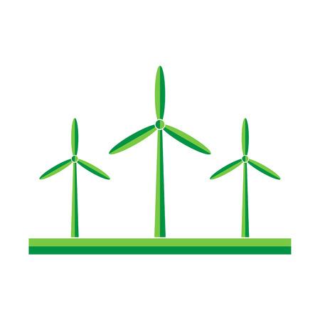 electrics: Wind turbines in the field - vector illustration. Green wind turbine generators in flat design. Illustration