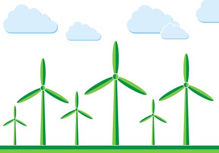 generators: Wind turbines in the field - vector illustration. Green wind turbine generators in flat design. Illustration