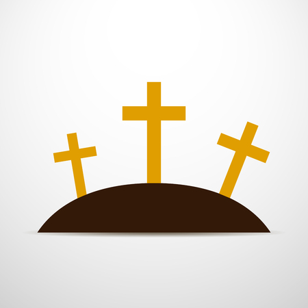 calvary: Simple calvary icon with three crosses on white background. Vector illustration in flat design.