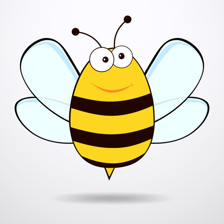 apiculture: Bee on white background. Flat icon of bee - vector illustration.