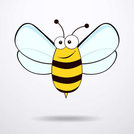 Ape su sfondo bianco. Icona piatto di api - illustrazione vettoriale. Archivio Fotografico - 54524251