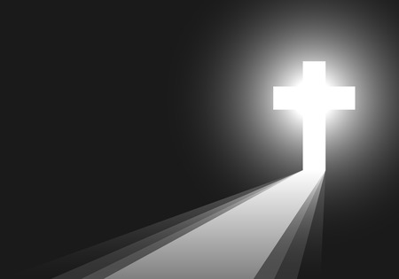 Cross icon - vector illustration. Simple Christian cross sign. White cross on black background with rays of light. Concept of the life after death.