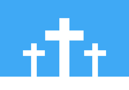 life after death: White cross icon - vector illustration. Simple Christian cross sign. Three white crosses on blue background.