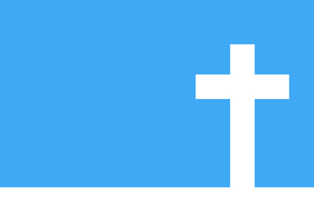 life after death: White cross icon - vector illustration. Simple Christian cross sign. White cross on blue background.