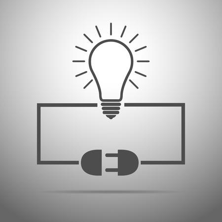 enchufe de luz: bombilla, cable de enchufe y el z�calo - ilustraci�n. concepto conexi�n, conexi�n, desconexi�n, la electricidad. Enchufe, z�calo, el cable y la bombilla en el dise�o plano. Vectores