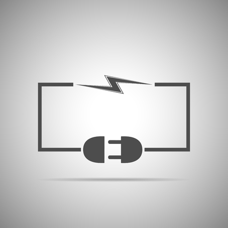disconnection: Wire plug and socket - illustration. Concept connection, connection, disconnection, electricity. Plug, socket, cord and lightning in flat design.
