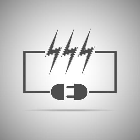 plug in: Wire plug and socket - illustration. Concept connection, connection, disconnection, electricity. Plug, socket, cord and lightning in flat design.