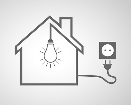 enchufe de luz: Black house with socket and light bulb - vector illustration. Simple icon with house silhouette, light bulb and socket with plug. Vectores