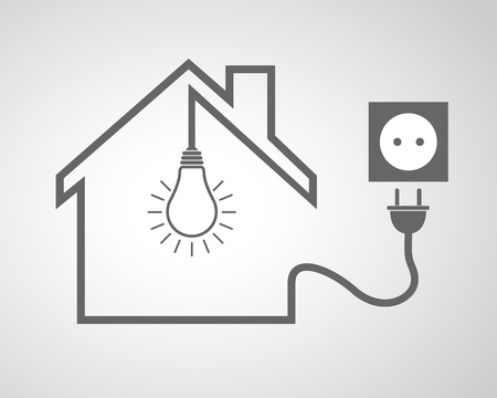 enchufe de luz: Negro casa con casquillo y bombilla - ilustraci�n vectorial. Icono simple de la casa con la silueta, la bombilla y el z�calo con el enchufe. Vectores