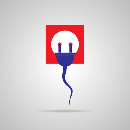 disconnection: Wire plug and socket - vector illustration. Concept connection, connection, disconnection, electricity. Plug, socket and cord in flat design.