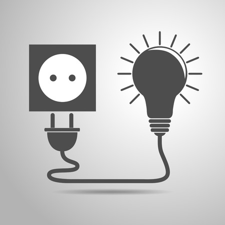 Plug, socket and light bulb - vector illustration. Concept connection, connection, disconnection, electricity. Plug, socket and cord in flat design.