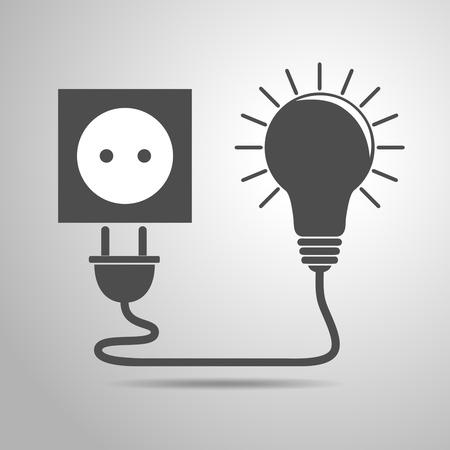 Plug, socket and light bulb - vector illustration. Concept connection, connection, disconnection, electricity. Plug, socket and cord in flat design. Vettoriali