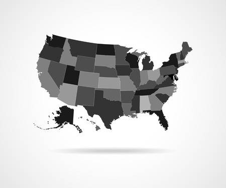 simplified: Set of black USA states - vector illustration. High detailed vector map - United States.
