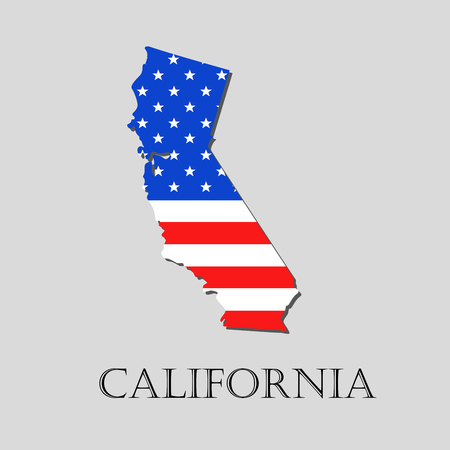 Map of the State of California and American flag illustration. America Flag map - vector illustration.