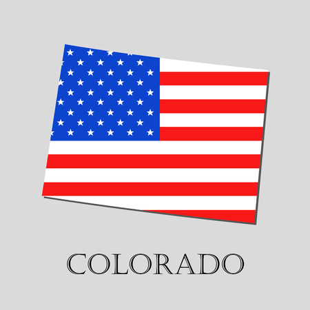 colorado flag: Map of the State of Colorado and American flag illustration. America Flag map - vector illustration. Illustration
