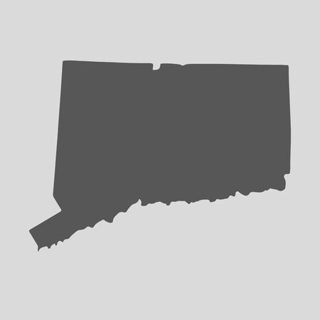 connecticut: Black map of the State of Connecticut- vector illustration. Simple flat map State of Connecticut.