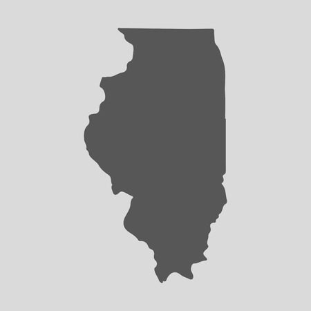 Black map of the State of Illinois - vector illustration. Simple flat map State of Illinois. Vettoriali