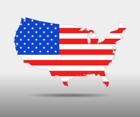 national geographic: America Flag map - vector illustration. USA map with contour and shadow isolated. Illustration